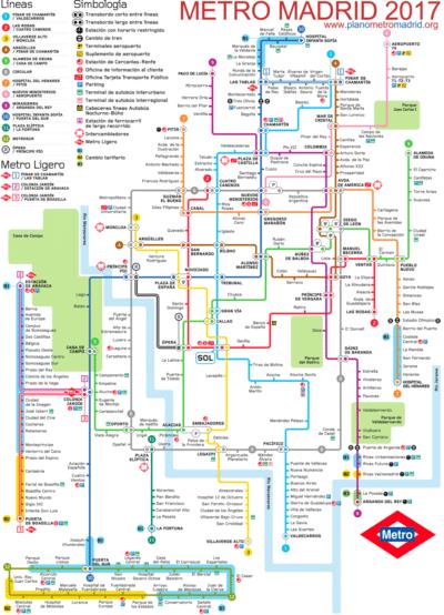Plano de Metro de Madrid 2018